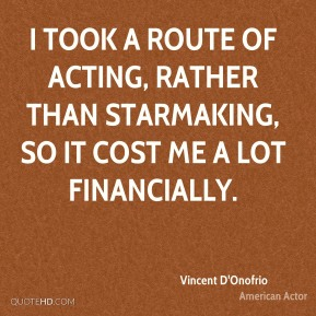 I took a route of acting, rather than starmaking, so it cost me a lot financially.