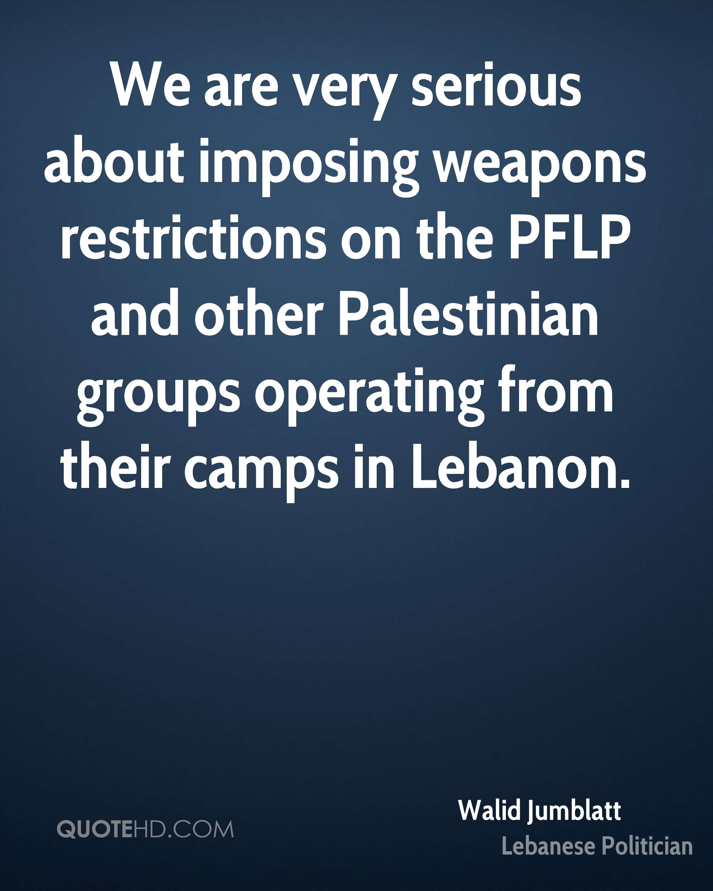 We are very serious about imposing weapons restrictions on the PFLP and other Palestinian groups operating from their camps in Lebanon.
