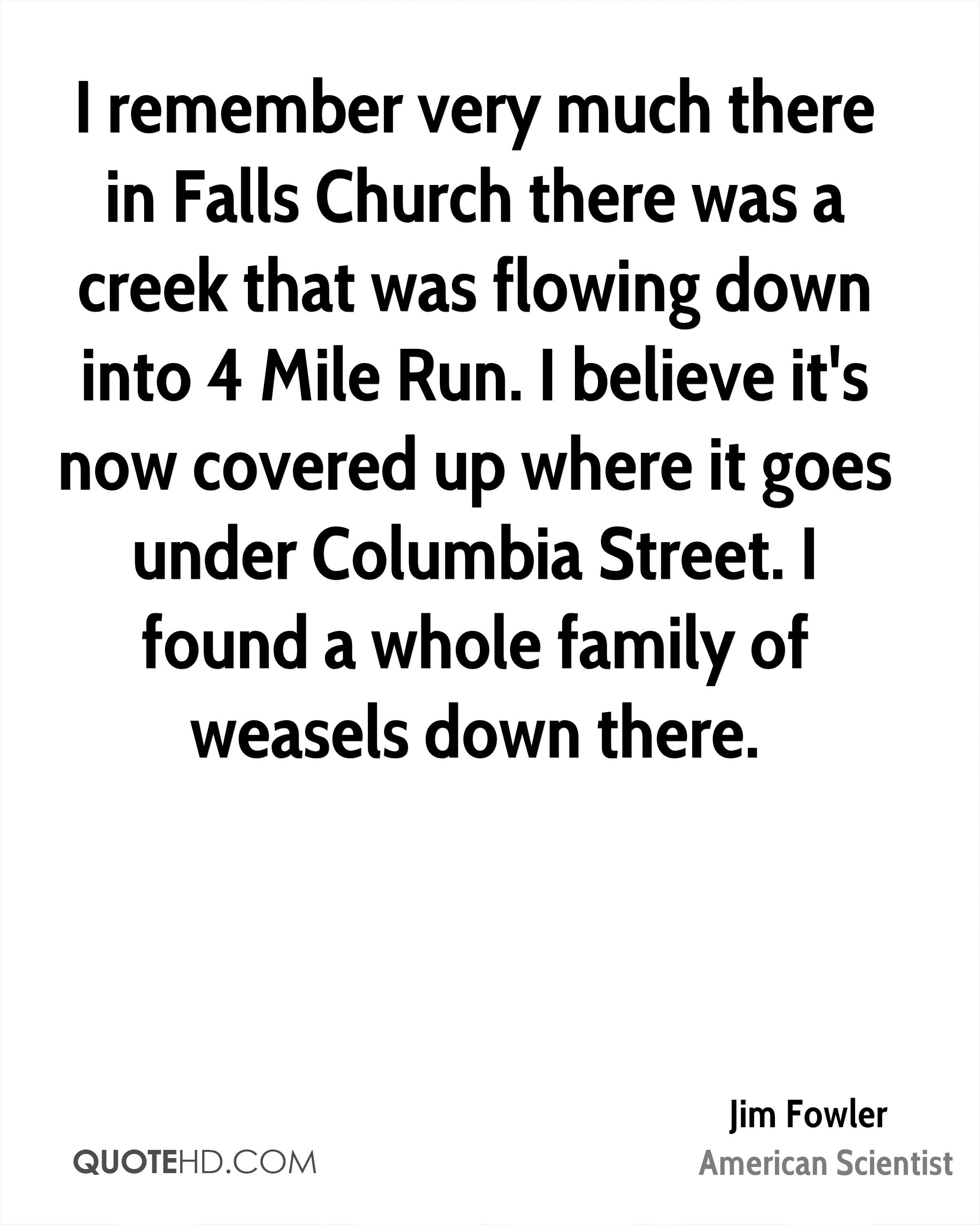 I remember very much there in Falls Church there was a creek that was flowing down into 4 Mile Run. I believe it's now covered up where it goes under Columbia Street. I found a whole family of weasels down there.