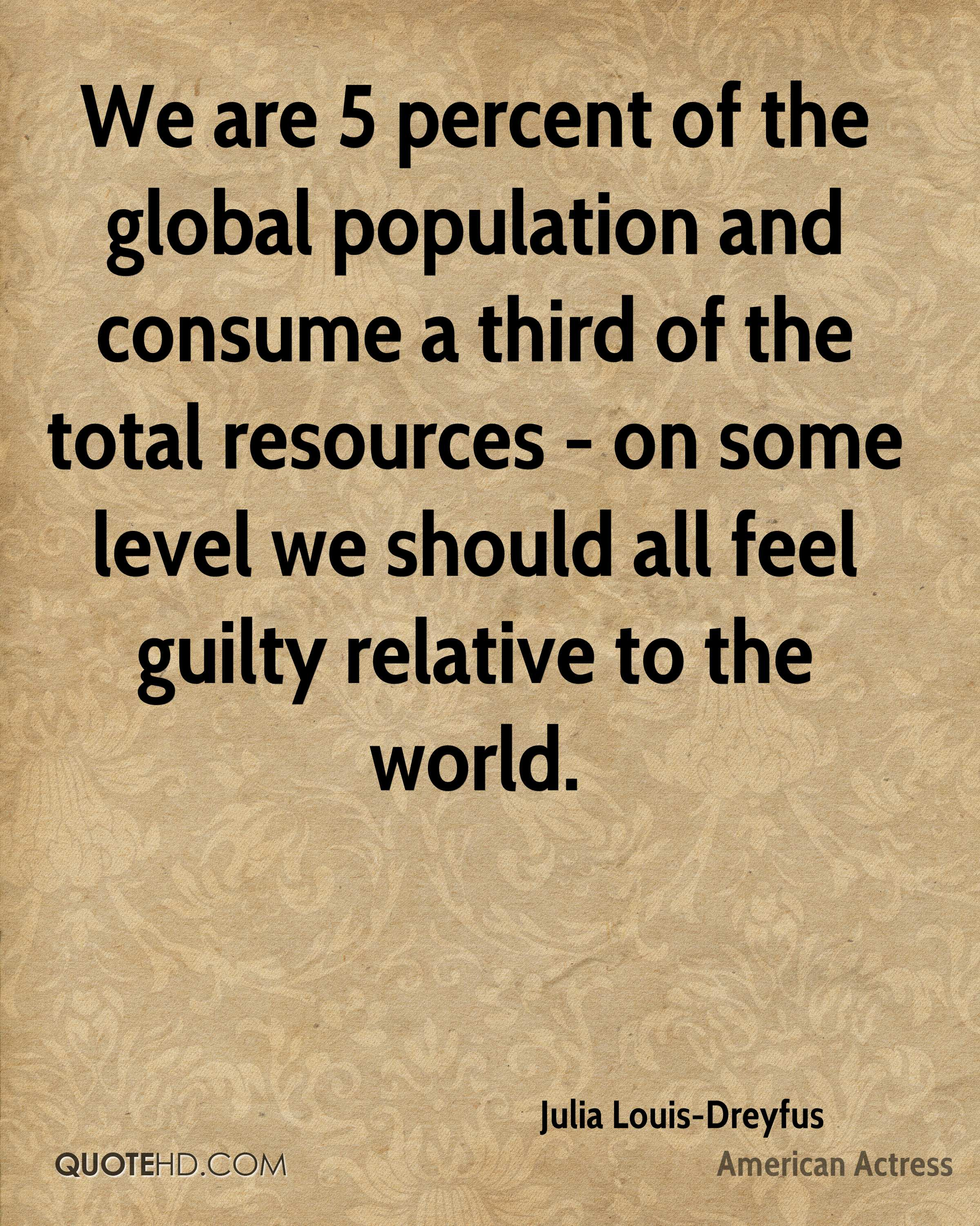 We are 5 percent of the global population and consume a third of the total resources - on some level we should all feel guilty relative to the world.