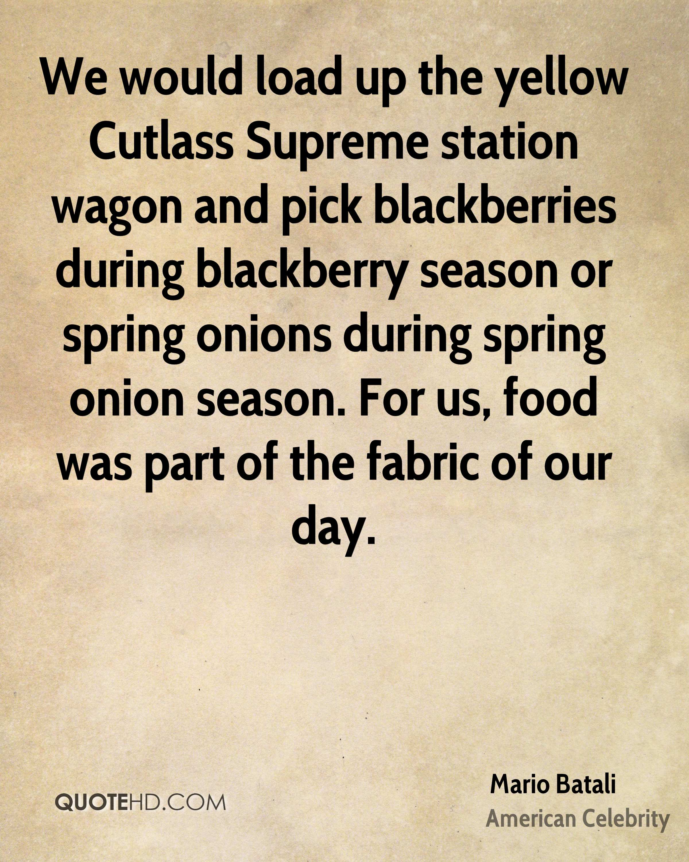 We would load up the yellow Cutlass Supreme station wagon and pick blackberries during blackberry season or spring onions during spring onion season. For us, food was part of the fabric of our day.