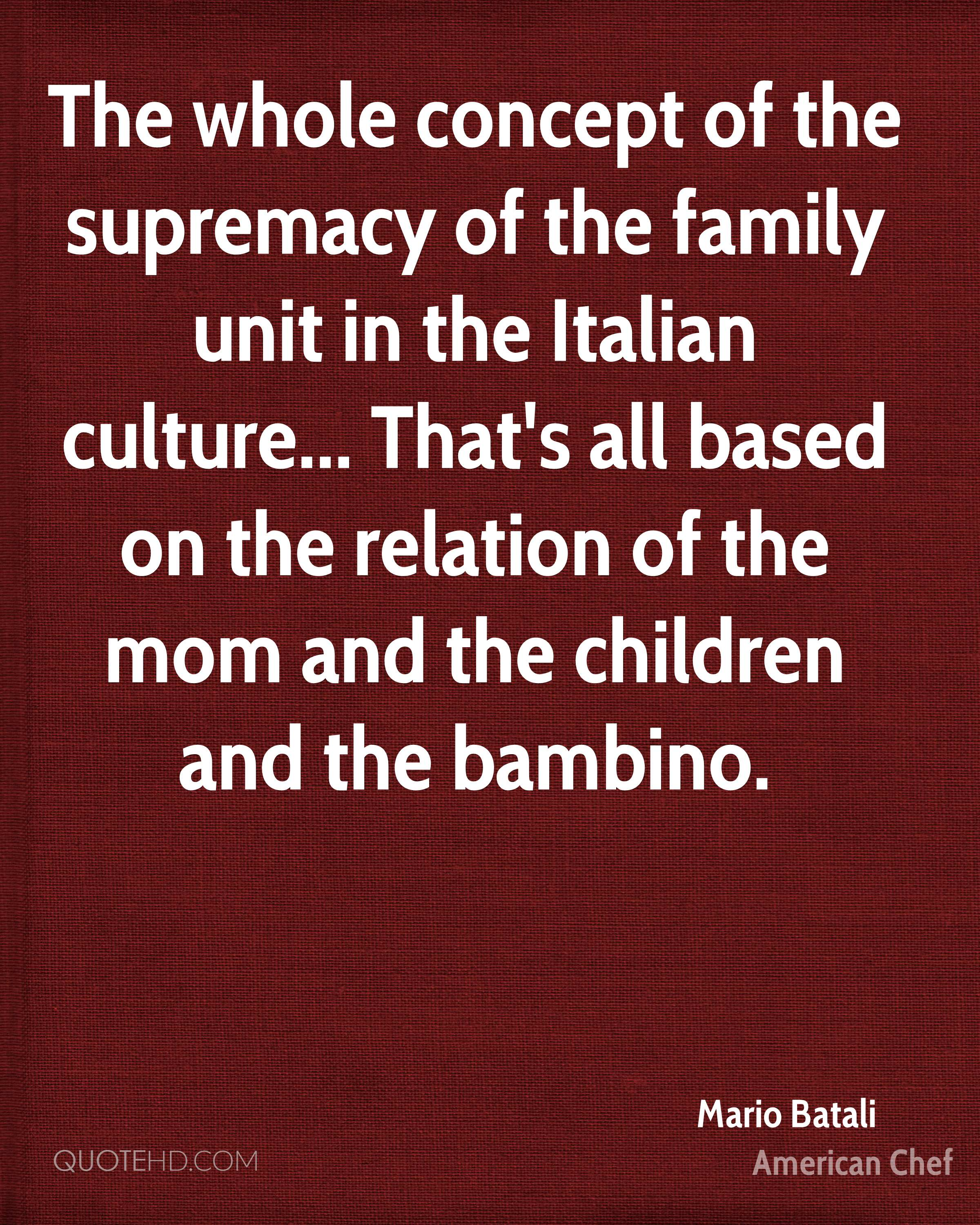 The whole concept of the supremacy of the family unit in the Italian culture... That's all based on the relation of the mom and the children and the bambino.
