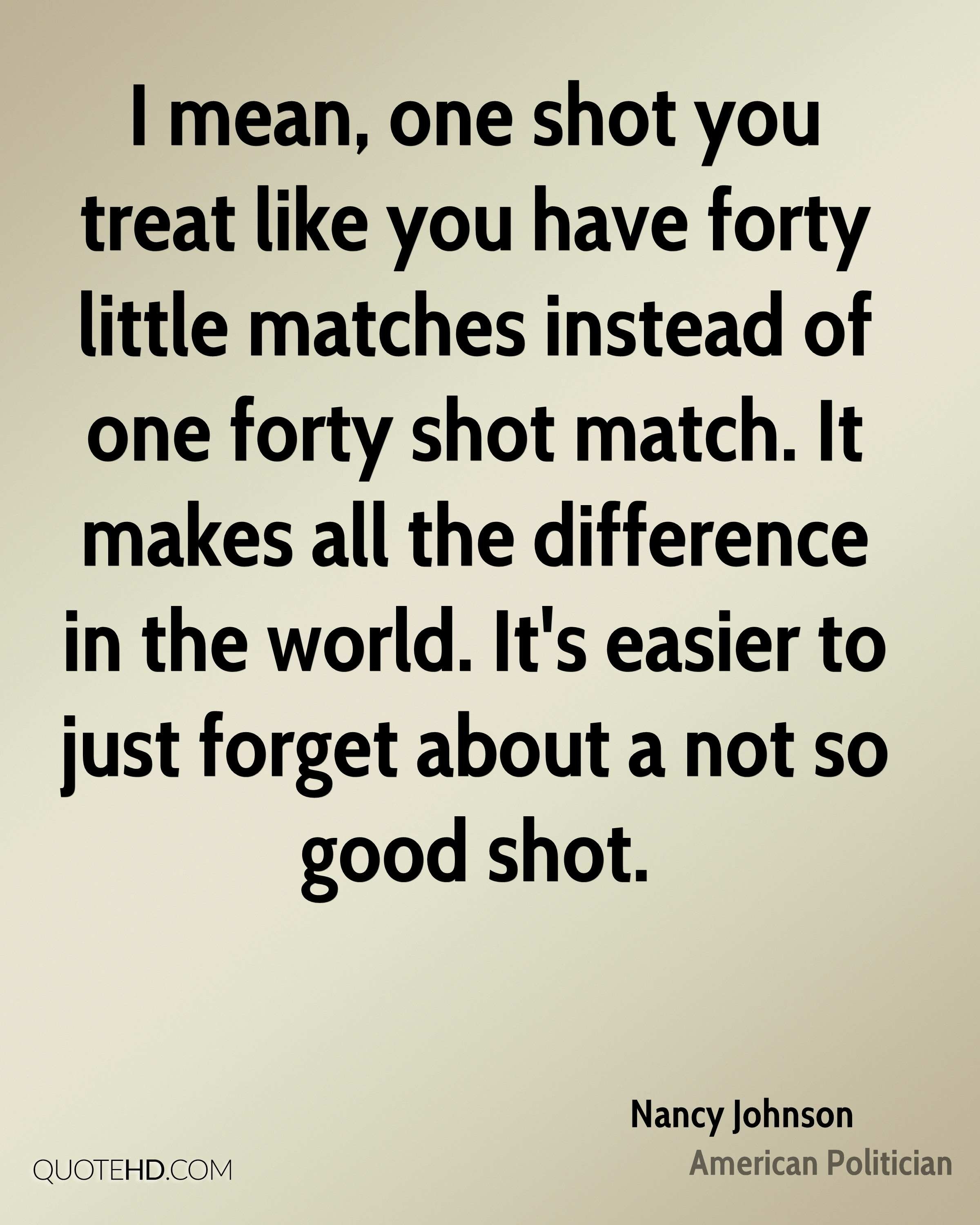 I mean, one shot you treat like you have forty little matches instead of one forty shot match. It makes all the difference in the world. It's easier to just forget about a not so good shot.
