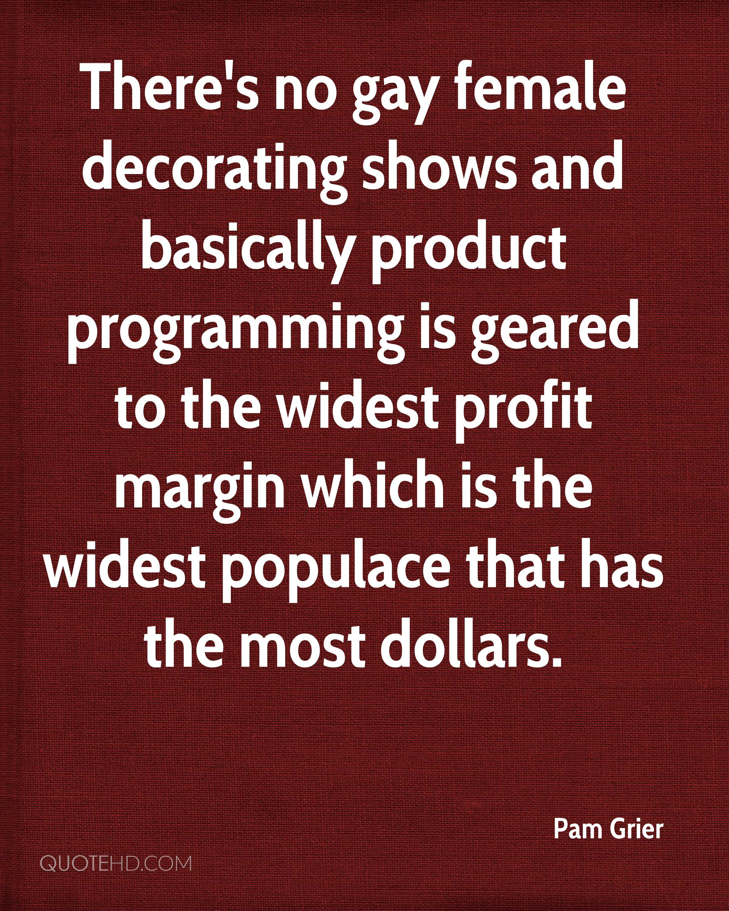 There's no gay female decorating shows and basically product programming is geared to the widest profit margin which is the widest populace that has the most dollars.