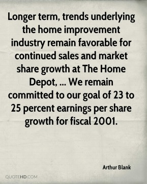 Arthur Blank - Longer term, trends underlying the home improvement industry remain favorable for continued sales and market share growth at The Home Depot, ... We remain committed to our goal of 23 to 25 percent earnings per share growth for fiscal 2001.