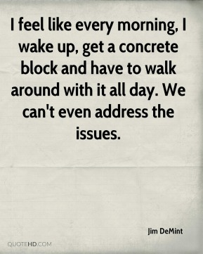 I feel like every morning, I wake up, get a concrete block and have to walk around with it all day. We can't even address the issues.