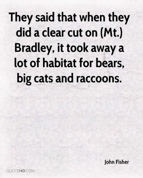 They said that when they did a clear cut on (Mt.) Bradley, it took away a lot of habitat for bears, big cats and raccoons.