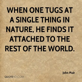 John Muir  - When one tugs at a single thing in nature, he finds it attached to the rest of the world.