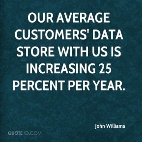 Our average customers' data store with us is increasing 25 percent per year.