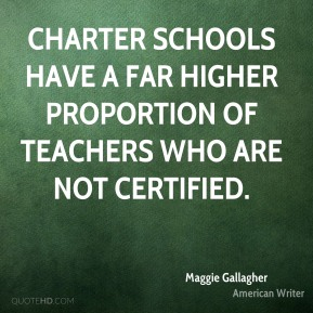 Charter schools have a far higher proportion of teachers who are not certified.
