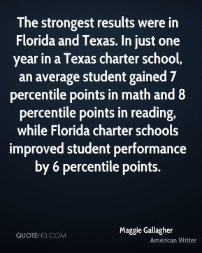 The strongest results were in Florida and Texas. In just one year in a Texas charter school, an average student gained 7 percentile points in math and 8 percentile points in reading, while Florida charter schools improved student performance by 6 percentile points.
