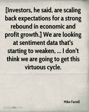 [Investors, he said, are scaling back expectations for a strong rebound in economic and profit growth.] We are looking at sentiment data that's starting to weaken, ... I don't think we are going to get this virtuous cycle.