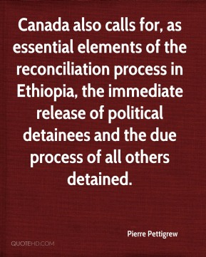 Canada also calls for, as essential elements of the reconciliation process in Ethiopia, the immediate release of political detainees and the due process of all others detained.