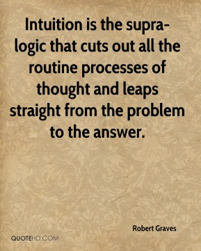 Robert Graves  - Intuition is the supra-logic that cuts out all the routine processes of thought and leaps straight from the problem to the answer.