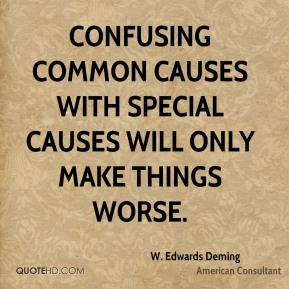 W. Edwards Deming  - Confusing common causes with special causes will only make things worse.
