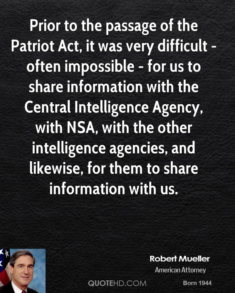 Us Agencies Quote Robert Mueller Intelligence Quotes  Quotehd
