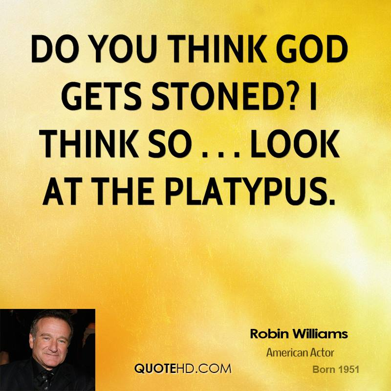 Do you think God gets stoned? I think so . . . look at the platypus.