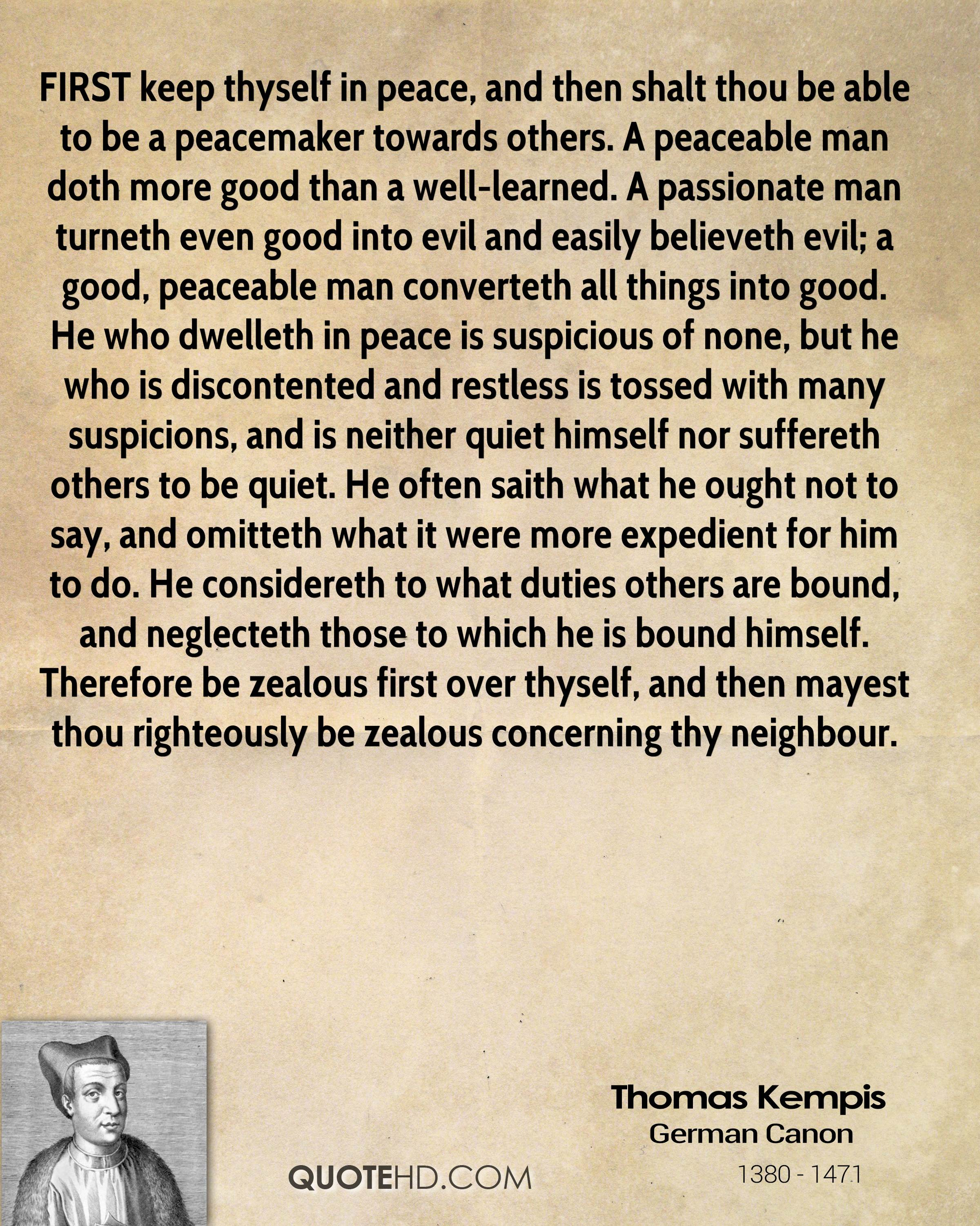 Peacemaker Quotes Thomas Kempis Quotes  Quotehd