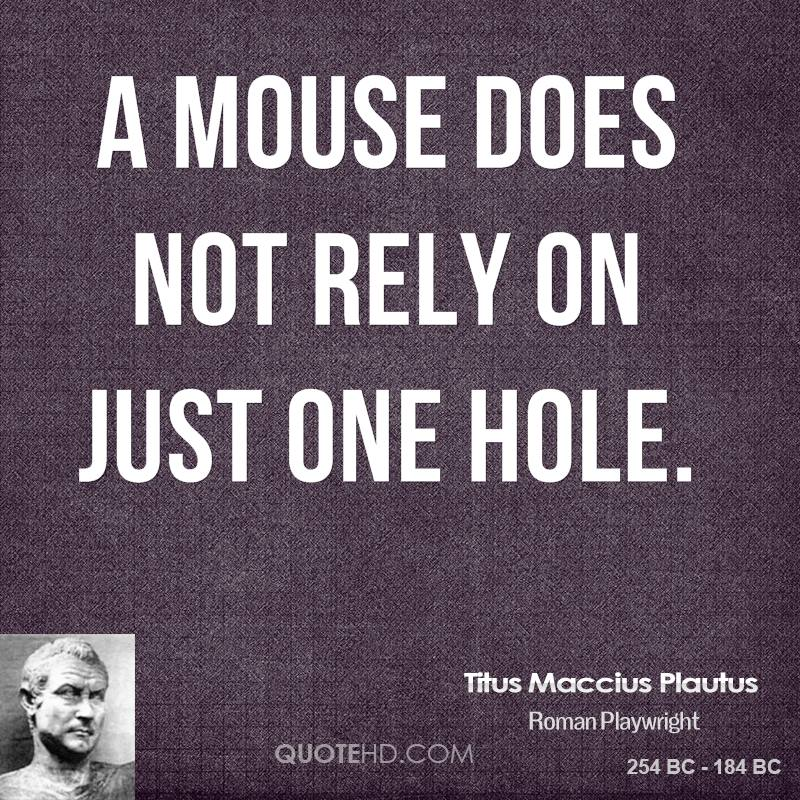 A mouse does not rely on just one hole.