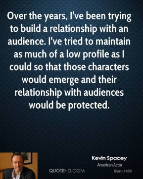 Over the years, I've been trying to build a relationship with an audience. I've tried to maintain as much of a low profile as I could so that those characters would emerge and their relationship with audiences would be protected.