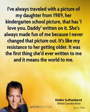 Kiefer Sutherland - I've always traveled with a picture of my daughter from 1989, her kindergarten school picture, that has 'I love you, Daddy' written on it. She's always made fun of me because I never changed that picture out. It's like my resistance to her getting older. It was the first thing she'd ever written to me and it means the world to me.