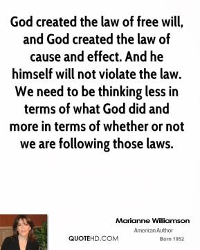 God created the law of free will, and God created the law of cause and effect. And he himself will not violate the law. We need to be thinking less in terms of what God did and more in terms of whether or not we are following those laws.