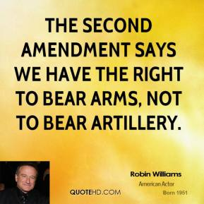 The Second Amendment says we have the right to bear arms, not to bear artillery.