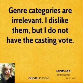 Tanith Lee - Genre categories are irrelevant. I dislike them, but I do not have the casting vote.