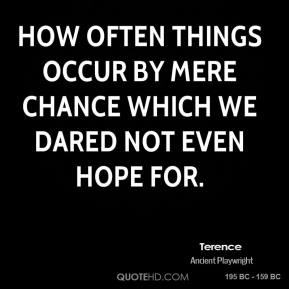 Terence - How often things occur by mere chance which we dared not even hope for.