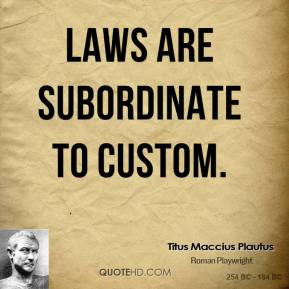 Laws are subordinate to custom.