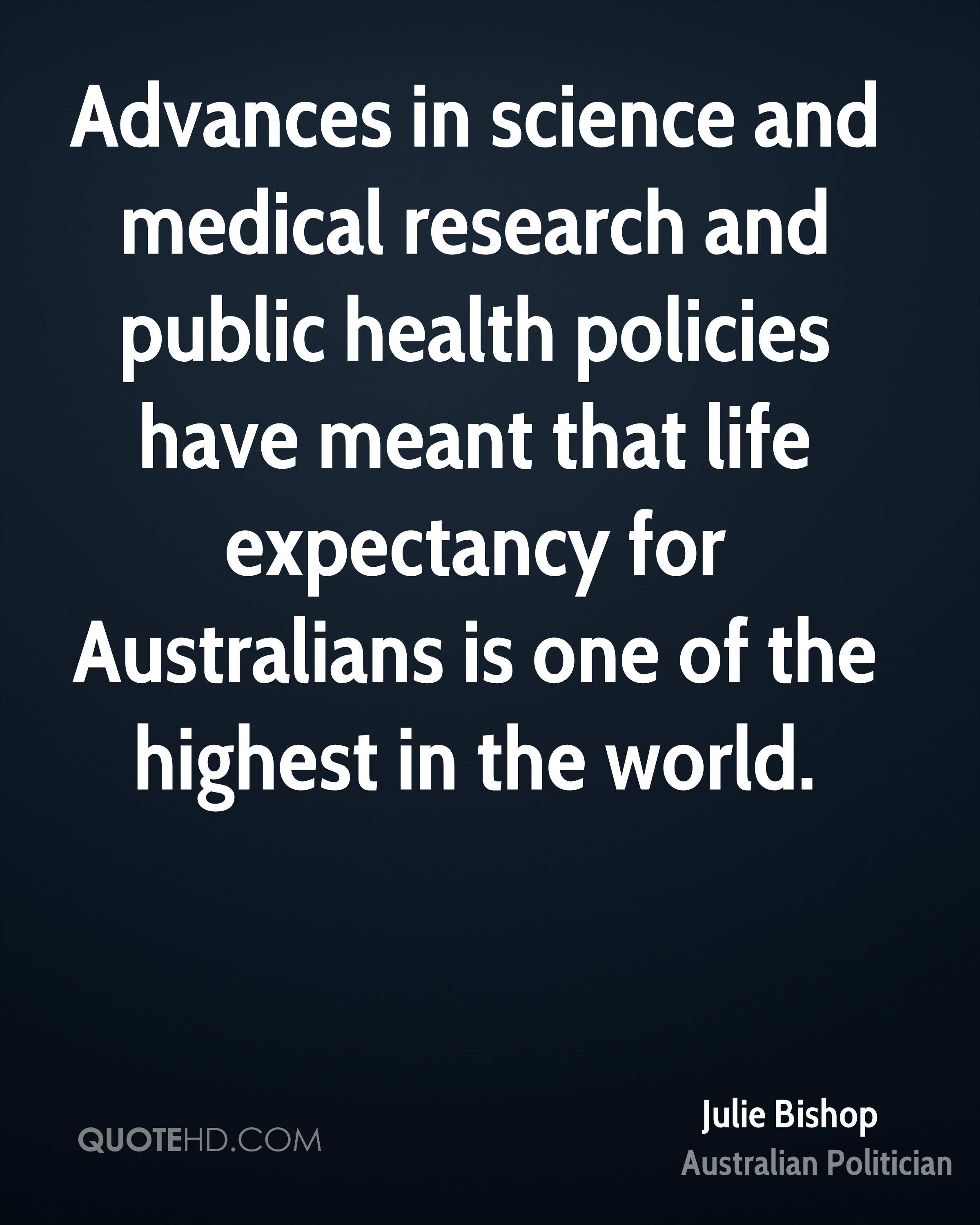 Advances in science and medical research and public health policies have meant that life expectancy for Australians is one of the highest in the world.