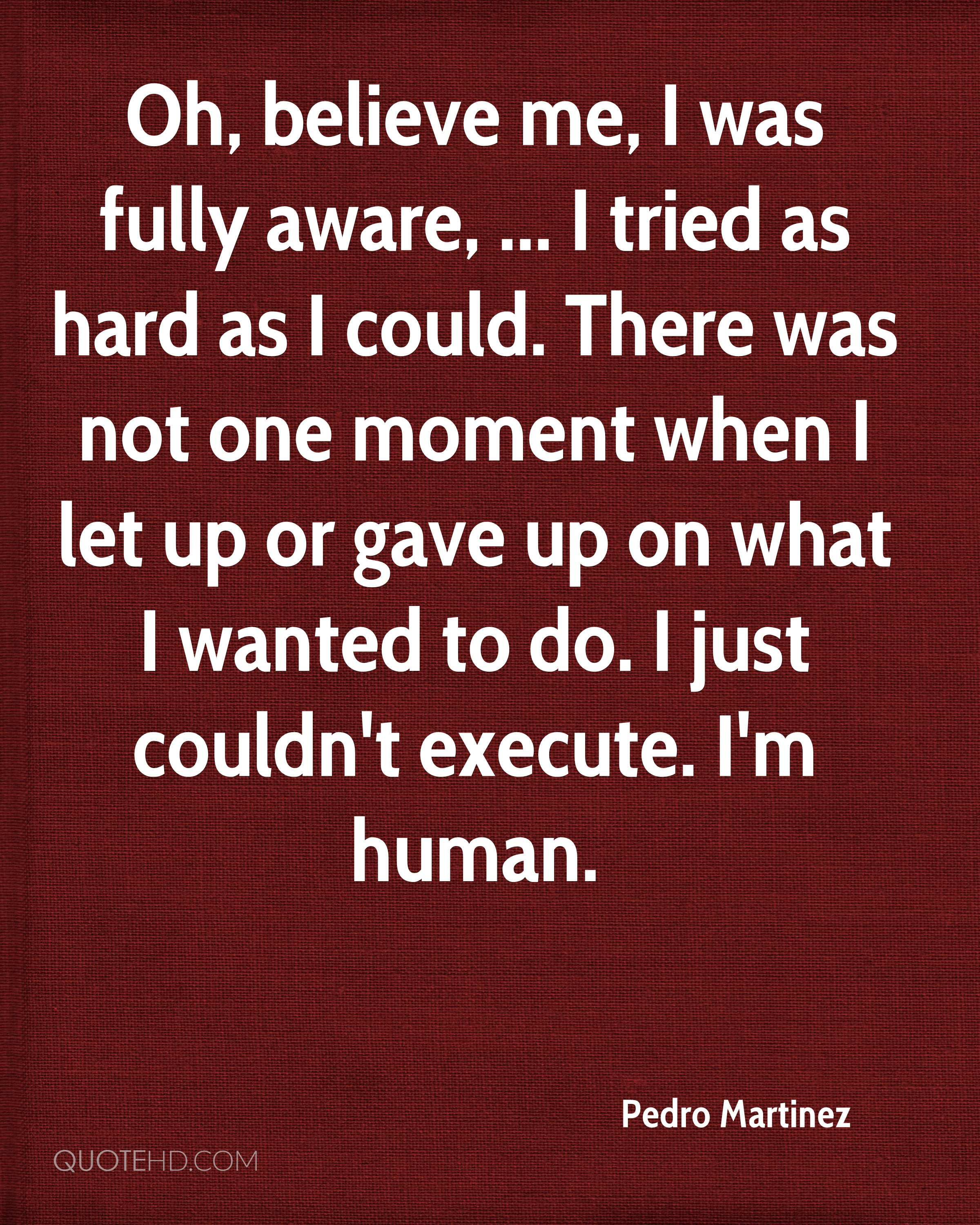 Oh, believe me, I was fully aware, ... I tried as hard as I could. There was not one moment when I let up or gave up on what I wanted to do. I just couldn't execute. I'm human.