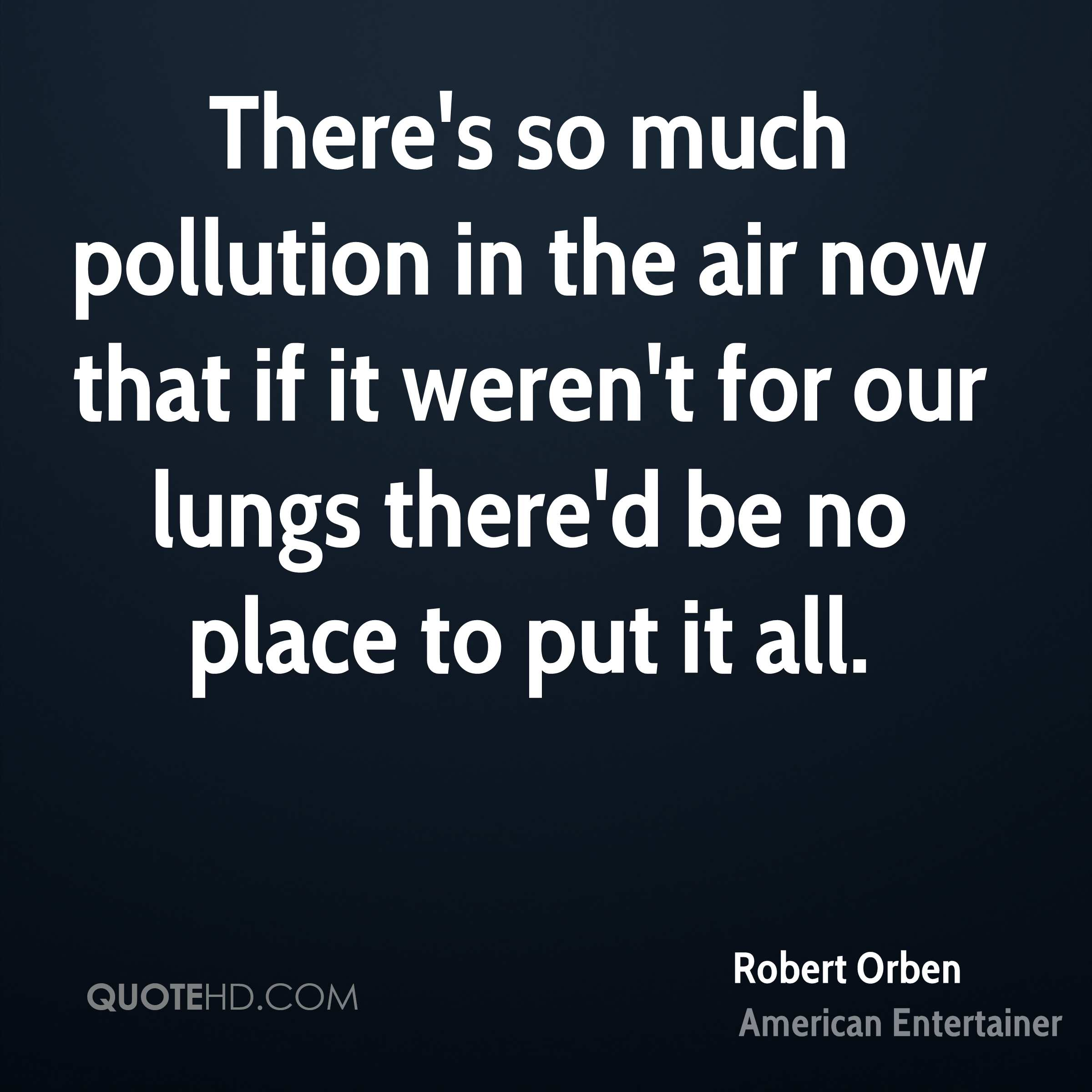 There's so much pollution in the air now that if it weren't for our lungs there'd be no place to put it all.