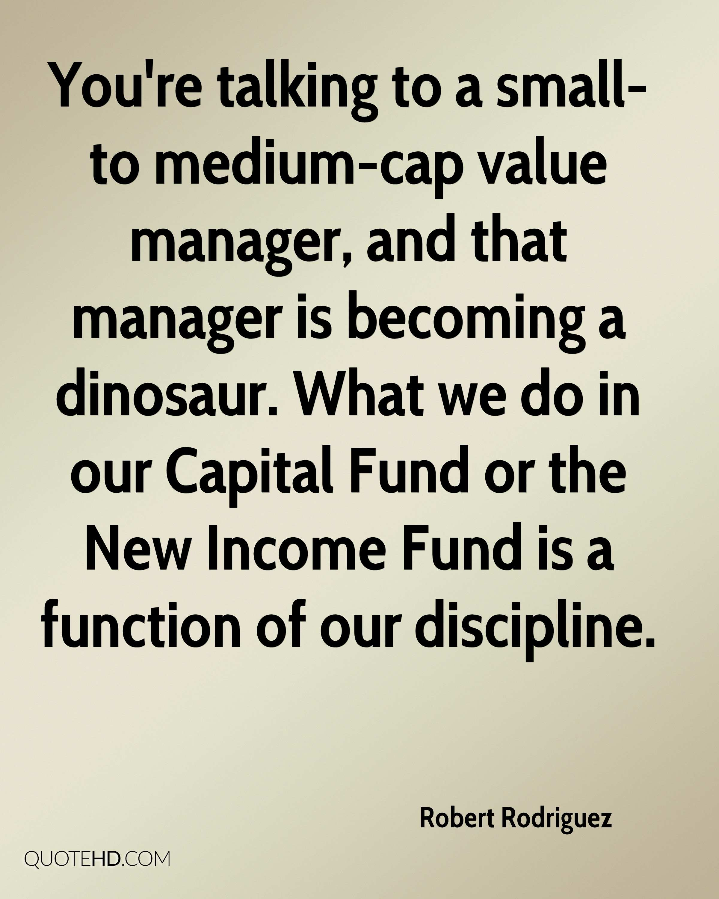 You're talking to a small- to medium-cap value manager, and that manager is becoming a dinosaur. What we do in our Capital Fund or the New Income Fund is a function of our discipline.