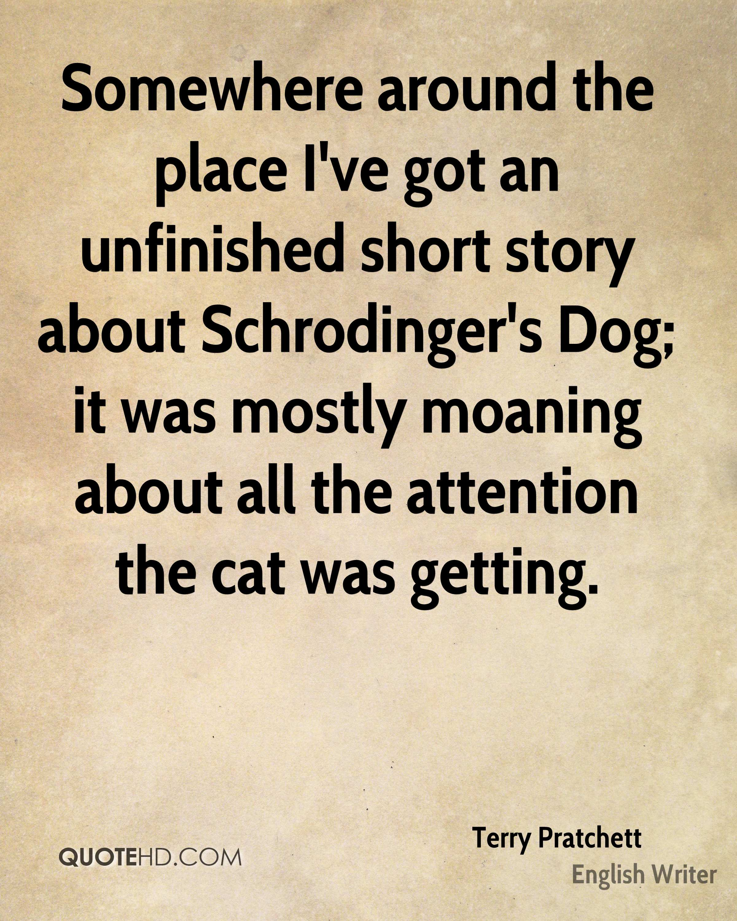Somewhere around the place I've got an unfinished short story about Schrodinger's Dog; it was mostly moaning about all the attention the cat was getting.