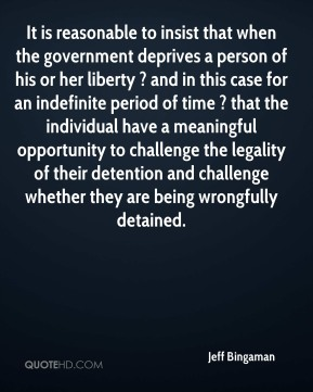 Jeff Bingaman  - It is reasonable to insist that when the government deprives a person of his or her liberty ? and in this case for an indefinite period of time ? that the individual have a meaningful opportunity to challenge the legality of their detention and challenge whether they are being wrongfully detained.