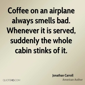Jonathan Carroll - Coffee on an airplane always smells bad. Whenever it is served, suddenly the whole cabin stinks of it.