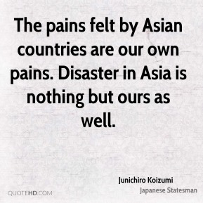 Junichiro Koizumi - The pains felt by Asian countries are our own pains. Disaster in Asia is nothing but ours as well.