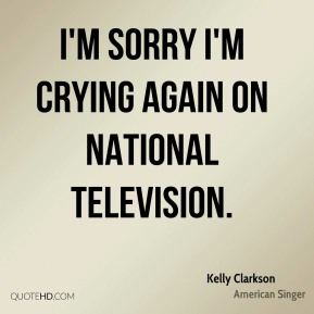 I'm sorry I'm crying again on national television.