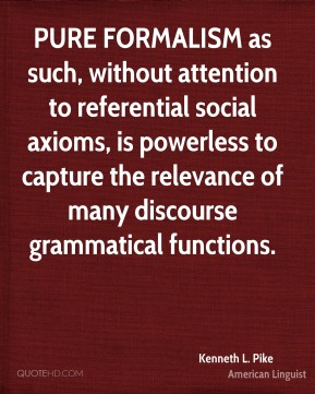 PURE FORMALISM as such, without attention to referential social axioms, is powerless to capture the relevance of many discourse grammatical functions.