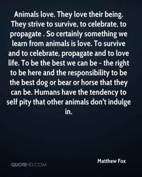 Matthew Fox  - Animals love. They love their being. They strive to survive, to celebrate, to propagate . So certainly something we learn from animals is love. To survive and to celebrate, propagate and to love life. To be the best we can be - the right to be here and the responsibility to be the best dog or bear or horse that they can be. Humans have the tendency to self pity that other animals don't indulge in.