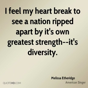 I feel my heart break to see a nation ripped apart by it's own greatest strength--it's diversity.