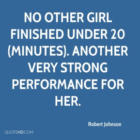 No other girl finished under 20 (minutes). Another very strong performance for her.