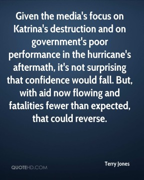 Given the media's focus on Katrina's destruction and on government's poor performance in the hurricane's aftermath, it's not surprising that confidence would fall. But, with aid now flowing and fatalities fewer than expected, that could reverse.