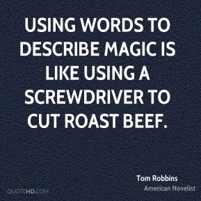 Using words to describe magic is like using a screwdriver to cut roast beef.