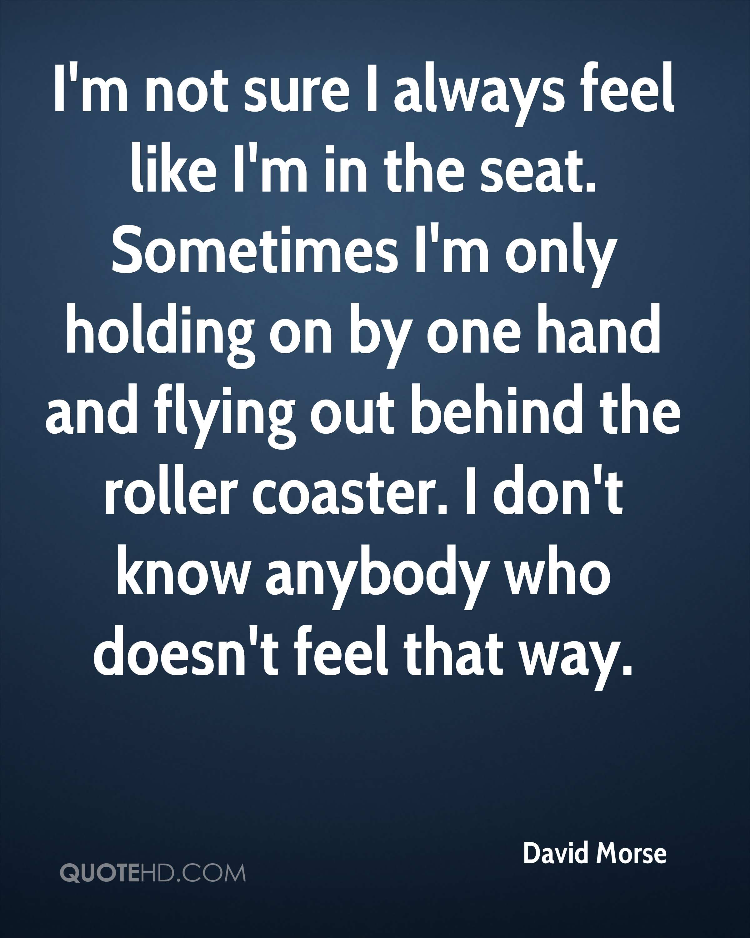 I'm not sure I always feel like I'm in the seat. Sometimes I'm only holding on by one hand and flying out behind the roller coaster. I don't know anybody who doesn't feel that way.