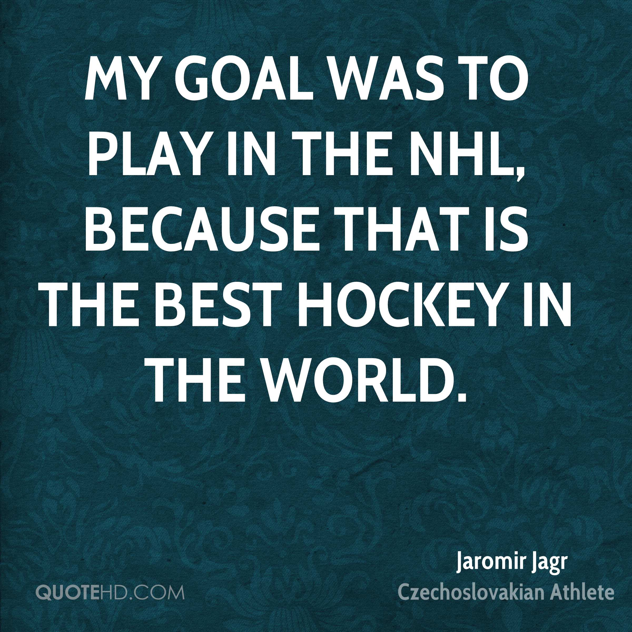 My goal was to play in the NHL, because that is the best hockey in the world.