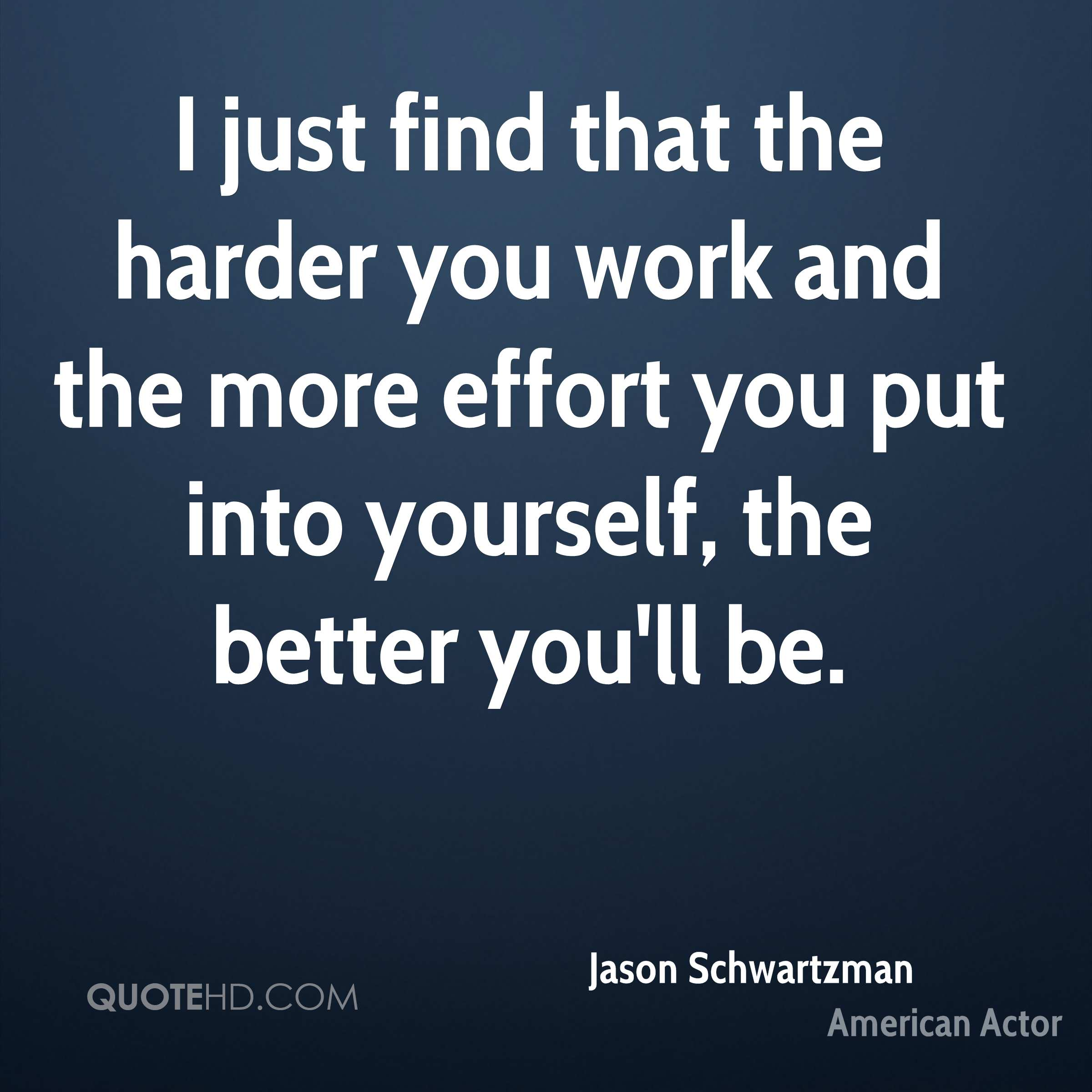 I just find that the harder you work and the more effort you put into yourself, the better you'll be.