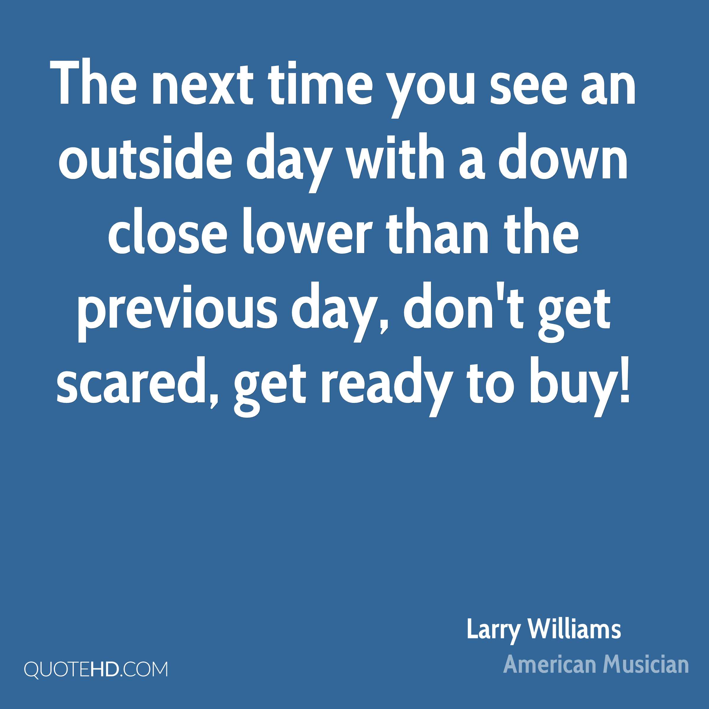 The next time you see an outside day with a down close lower than the previous day, don't get scared, get ready to buy!