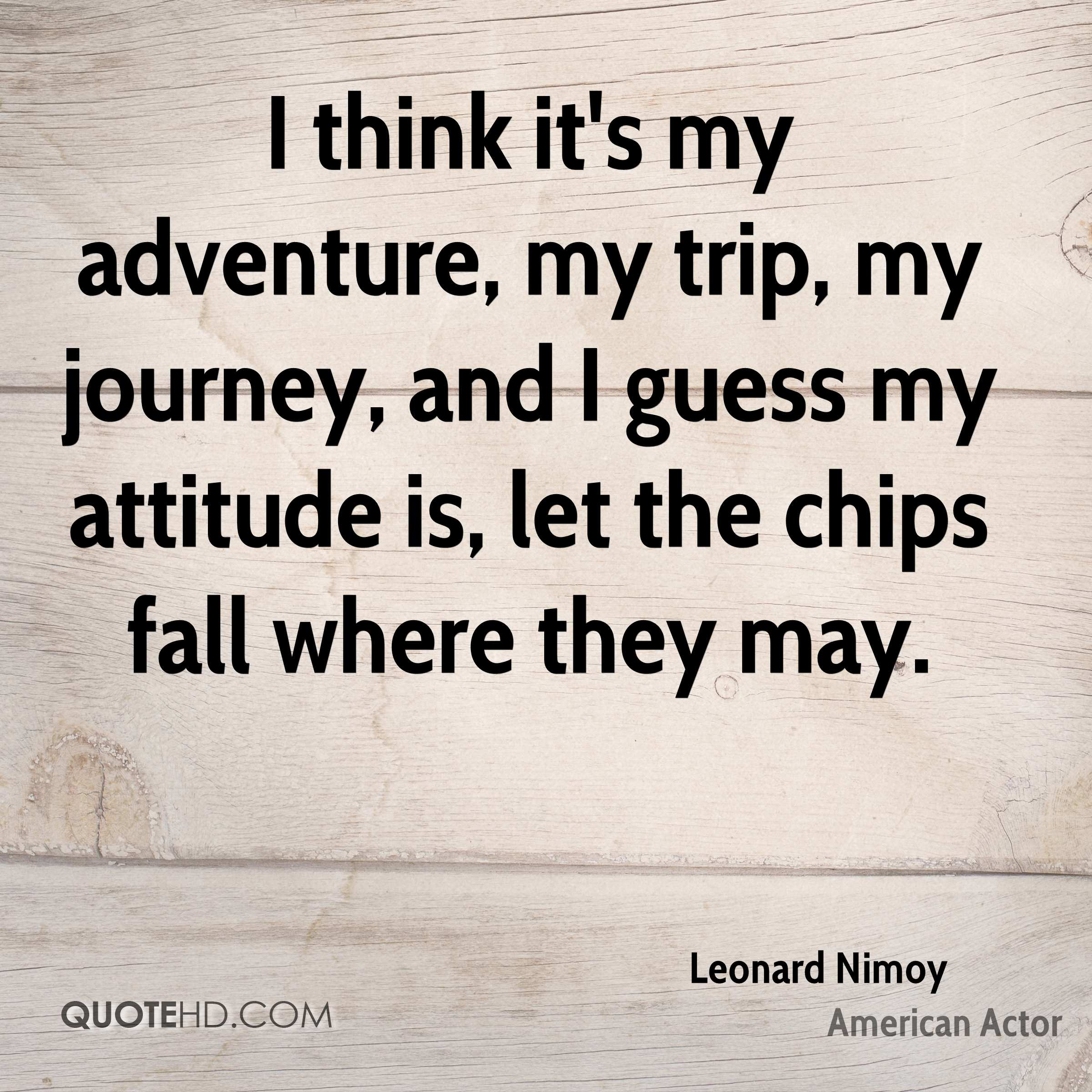 I think it's my adventure, my trip, my journey, and I guess my attitude is, let the chips fall where they may.